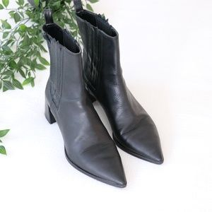 Zara Leathered Heeled Ankle Boots